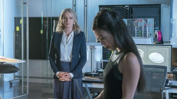 "Runaways -- ""Hostile Takeover"" -- Episode 210 -- Leslie begins dismantling her empire, but not everyone is okay with it. The Runaways try to defend themselves when their new home comes under attack. Victor isn't feeling like himself. Janet Stein (Ever Carradine), Tina Minoru (Brittany Ishibabshi) shown. (Photo by: Michael Desmond / Hulu)"