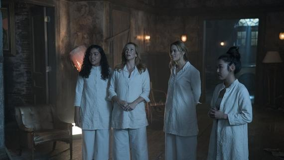 "Runaways -- ""Earth Angel"" -- Episode 212 -- The parents try to bring one of the Runaways into the fold at PRIDE. Karolina, Nico, and Molly mount a rescue mission in the desert and recruit an old friend to help. Molly Hernandez (Allegra Acosta), Leslie Dean (Annie Wersching), Karolina Dean (Virgina Gardner), Nico Minoru (Lyrica Okano) shown. (Photo by: Michael Desmond / Hulu)"