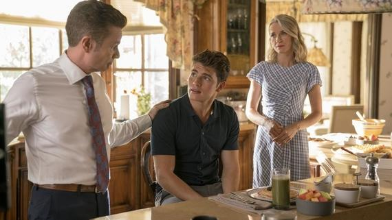 "Runaways -- ""Split Up"" -- Episode 213 -- The Runaways face betrayal from within their own ranks, but won't compromise. Facing threats from all directions, the group is separated and tries to survive against an enemy far more aggressive than they expected. Victor Stein (James Marsters), Chase Stein (Gregg Sulkin), Janet Stein (Ever Carradine) shown. (Photo by: Michael Desmond / Hulu)"