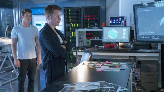 "Runaways -- ""Split Up"" -- Episode 213 -- The Runaways face betrayal from within their own ranks, but won't compromise. Facing threats from all directions, the group is separated and tries to survive against an enemy far more aggressive than they expected. Chase Stein (Gregg Sulkin), Victor Stein (James Marsters) shown. (Photo by: Michael Desmond / Hulu)"