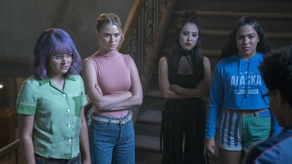 "Runaways -- ""Split Up"" -- Episode 213 --The Runaways face betrayal from within their own ranks, but won't compromise. Facing threats from all directions, the group is separated and tries to survive against an enemy far more aggressive than they expected. Gert Yorkes (Ariela Barer), Karolina Dean (Virginia Gardner), Nico Minoru (Lyrica Okano), Molly Hernandez (Allegra Acosta), Alex Wilder (Rhenzy Feliz) shown. (Photo by: Michael Desmond / Hulu)"