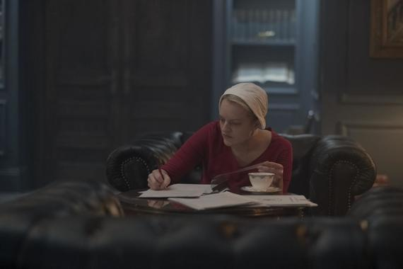 "The Handmaid's Tale -- ""Women's Work"" - Episode 208 - A sick baby tests Offred and Serena. Janine finally faces Naomi. The Commander struggles to recover from a terrifying ordeal. Offred (Elisabeth Moss), shown. (Photo by: George Kraychyk/Hulu)"