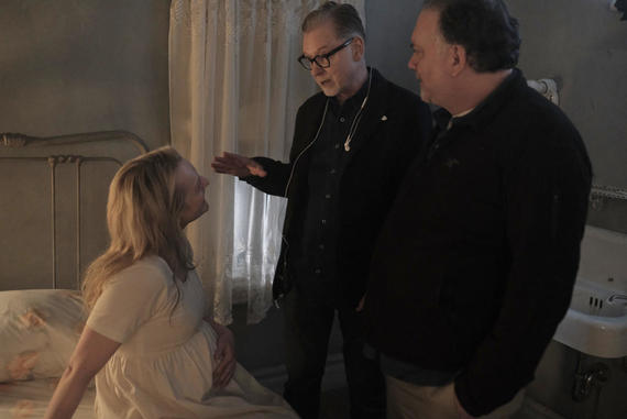 The Handmaid's Tale -- Episode 209 -- Behind the scenes of Elisabeth Moss from left, Executive Producer Warren Littlefield and Creator/Showrunner and Executive Producer Bruce Miller on set of The Handmaid's Tale Season 2 in Toronto, Canada. (Photo by: George Kraychyk/Hulu)