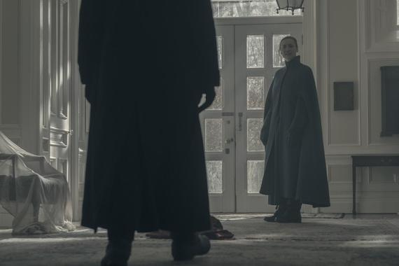 "THE HANDMAID'S TALE -- ""Holly"" -- Episode 211 -- Offred faces a grueling challenge alone as she recalls her life as a mother. Serena Joy and the Commander deal with the fallout of their actions towards Offred. Serena Commander Waterford (Joseph Fiennes) and Serena Joy (Yvonne Strahovski), shown. (Photo by:George Kraychyk/Hulu)"