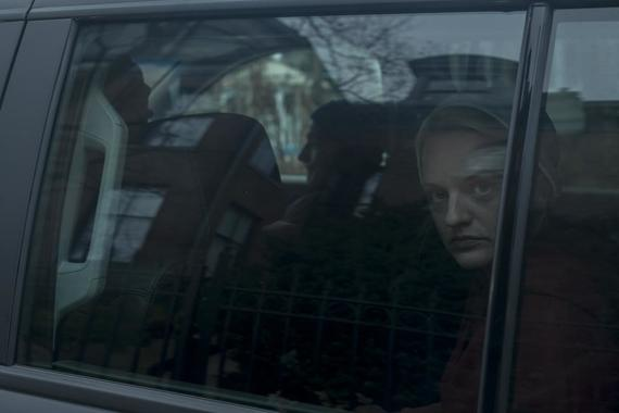"The Handmaid's Tale -- ""Night"" - Episode 301 -- June embarks on a bold mission with unexpected consequences. Emily and Nichole make a harrowing journey. The Waterfords reckon with Serena Joy's choice to send Nichole away. June (Elisabeth Moss), shown. (Photo by: Elly Dassas/Hulu)"