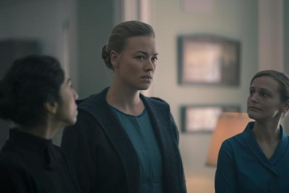 "The Handmaid's Tale -- ""Watch Out"" - Episode 303 -- June navigates a meeting where she must face both Commander Waterford and Nick. Serena Joy attempts to recuperate at her mother's home. Lawrence teaches June a hard lesson about the difficult decisions he makes as a Commander. Serena (Yvonne Strahovski), shown. (Photo by: Elly Dassas/Hulu)"
