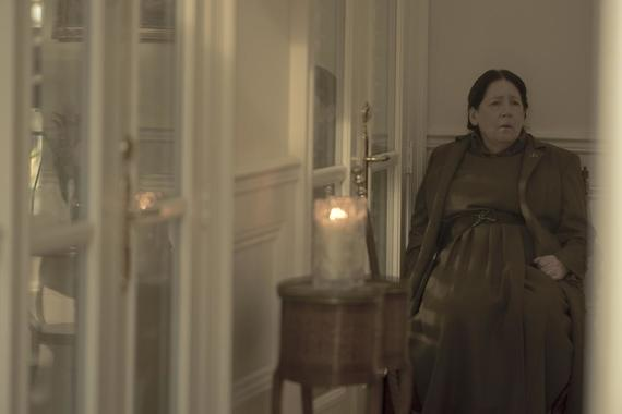 "The Handmaid's Tale -- ""God Bless the Child"" - Episode 304 -- June negotiates a truce in the Waterfords' fractured relationship. Janine oversteps with the Putnam family, and a still-healing Aunt Lydia offers a brutal public punishment. Aunt Lydia (Ann Dowd), shown. (Photo by: Elly Dassas/Hulu)"