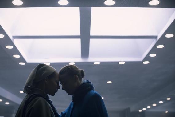 "The Handmaid's Tale -- ""Liars"" - Episode 311 -- June must rely on an unpredictable Commander Lawrence to execute her plan, but a terrifying return to a place from June's past puts everything in jeopardy. Serena Joy and Commander Waterford take a clandestine trip. Rita (Amanda Brugel) and Serena (Yvonne Strahovski), shown. (Photo by: Jasper Savage/Hulu)"