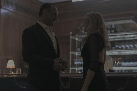 """The Handmaid's Tale -- """"Liars"""" - Episode 311 -- June must rely on an unpredictable Commander Lawrence to execute her plan, but a terrifying return to a place from June's past puts everything in jeopardy. Serena Joy and Commander Waterford take a clandestine trip. Winslow (Christopher Meloni) and June (Elisabeth Moss), shown. (Photo by: Jasper Savage/Hulu)"""