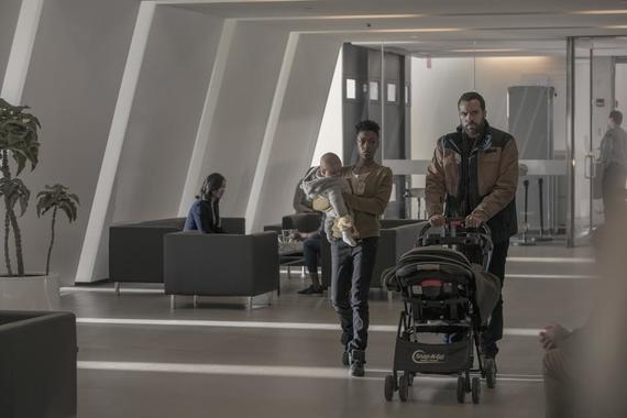 "The Handmaid's Tale -- ""Sacrifice"" - Episode 312 -- Gilead leadership is rocked by losses among their own. Luke and Moira adjust to new arrivals in Canada. June worries about disruptions to her plan, only to have tragedy strike the entire household. Moira (Samira Wiley) and Luke (O.T. Fagbenle), shown. (Photo by: Jasper Savage/Hulu)"