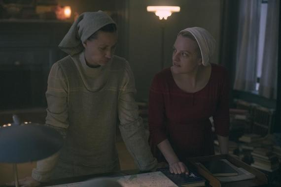 "The Handmaid's Tale -- ""Mayday"" - Episode 313 -- With her plan in place, June reaches the point of no return on her bold strike against Gilead and must decide how far she's willing to go. Serena Joy and Commander Waterford attempt to find their way forward in their new lives. Beth (Kristen Gutoskie) and June (Elisabeth Moss), shown. (Photo by: Jasper Savage/Hulu)"
