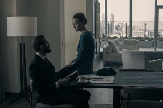 "The Handmaid's Tale -- ""Bear Witness"" - Episode 310 -- Ready to strike back at her oppressors, June starts making arrangements for an ambitious plan, but a devious ploy on the part of Commander Waterford threatens to derail her. In Canada, hope turns to tragedy for Moira, Luke, and Emily. Fred (Joseph Fiennes) and Serena (Yvonne Strahovski), shown. (Photo by: Sophie Giraud/Hulu)"