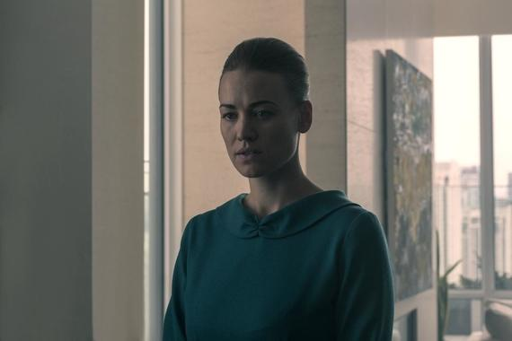 "The Handmaid's Tale -- ""Bear Witness"" - Episode 310 -- Ready to strike back at her oppressors, June starts making arrangements for an ambitious plan, but a devious ploy on the part of Commander Waterford threatens to derail her. In Canada, hope turns to tragedy for Moira, Luke, and Emily. Serena (Yvonne Strahovski), shown. (Photo by: Sophie Giraud/Hulu)"