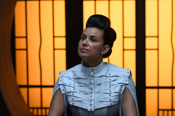 "Utopia Falls -- ""Worst Behaviour"" - Episode 109 -- Bohdi and Aliyah join a covert rebel group in New Babyl while Phydra hunts down a mole in the Tribunal. Chancellor Diara (Alexandra Castillo), shown. (Photo by: Amanda Matlovich/Hulu)"
