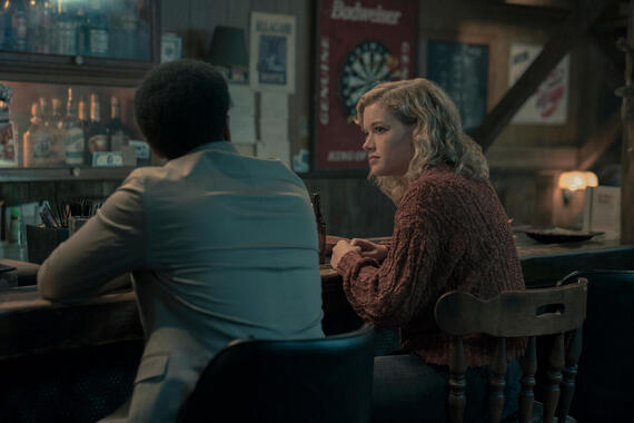 """CASTLE ROCK -- """"Severance"""" - Episode 101 - An anonymous phone call lures death-row attorney Henry Denver back to his home town of Castle Rock, Maine. Henry Deaver (Andre Holland) and Jackie (Jane Levy) shown. (Photo by: Patrick Harbron/Hulu)"""