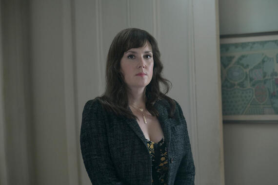 """CASTLE ROCK -- """"The Box"""" - Episode 104 - Henry prepares for his day in court; a coffin arrives in Castle Rock. Molly Strand (Melanie Lynskey) shown. Molly Strand (Melanie Lynskey) shown. (Photo by: Patrick Harbron/Hulu)"""