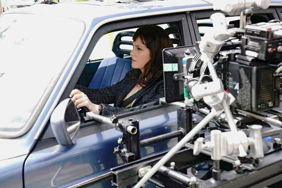"""Castle Rock --""""Severance"""" - Episode 101 -- Henry Deaver, a death-row attorney, confronts his dark past when an anonymous call lures him back to his hometown of Castle Rock, Maine. Behind the scenes with Melanie Lynskey, shown. (Photo by: Patrick Harbron/Hulu)"""