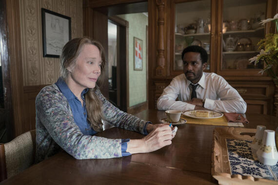 """Castle Rock --""""Severance"""" - Episode 101 -- Henry Deaver, a death-row attorney, confronts his dark past when an anonymous call lures him back to his hometown of Castle Rock, Maine. Ruth Deaver (Sissy Spacek) and Henry Deaver (Andre Holland), shown. (Photo by: Patrick Harbron/Hulu)"""