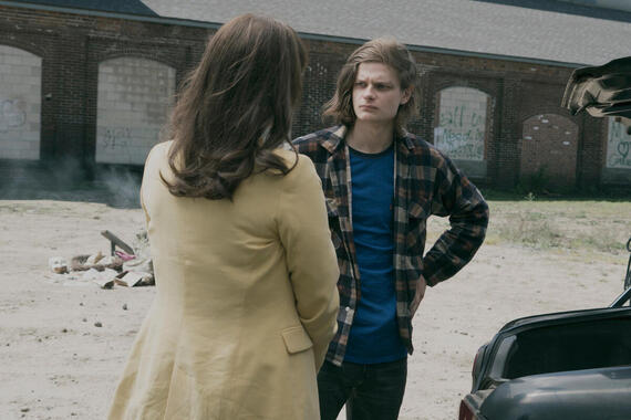 """CASTLE ROCK -- """"Local Color"""" - Episode 103 - The past catches up with Molly Strand. Molly Strand (Melanie Lynskey) and Charlie Tahan shown. (Photo by: Seacia Pavao/Hulu)"""