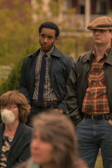 """CASTLE ROCK -- """"Harvest"""" - Episode 105 - A stranger comes to town; Castle Rock honors Sheriff Pangborn. Henry Deaver (Andre Holland) shown. (Photo by: Claire Folger/Hulu)"""