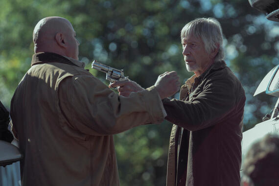 """Castle Rock -- """"Filter"""" - Episode 106 - Henry's son visits from Boston; a funeral stirs up unsettling memories. Shown: Alan Pangborn (Scott Glenn, R) (Photo by: Patrick Harbron/Hulu)"""