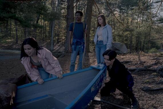 "CASTLE ROCK -- ""Ties that Bind"" - Episode 203 -- Annie tastes her own medicine. Vera (Tenea Intriago), Timothy (Skylan Brooks), Joy (Elsie Fisher) and Chance (Abby Corrigan), shown. (Photo by: Dana Starbard/Hulu)"