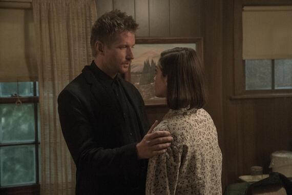 """CASTLE ROCK -- """"The Laughing Place"""" - Episode 205 -- In the beginning.... Ace (Paul Sparks) and Annie (Lizzy Caplan), shown. (Photo by: Dana Starbard/Hulu)"""