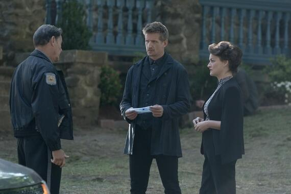 """CASTLE ROCK -- """"Dirty"""" - Episode 208 -- Annie sees things for what they are. Deputy Clay (Chris Mulkey), Ace (Paul Sparks) and Valerie (Alison Wright), shown. (Photo by: Dana Starbard/Hulu)"""