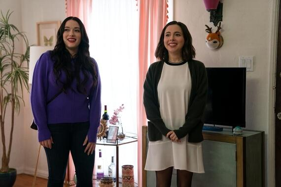 "Dollface -- ""Homebody"" - Episode 102 -- Jules goes to her girlfriends for advice about moving out of her ex's place, but finds navigating which friend's advice to take an even more complicated problem. Jules (Kat Dennings) and Izzy (Esther Povitsky), shown. (Photo by: Ali Goldstein/Hulu)"