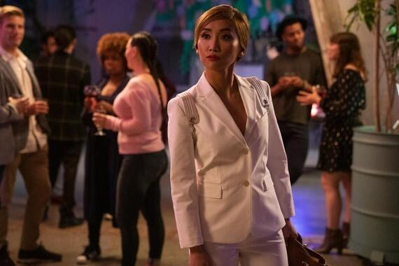 "Dollface -- ""Mystery Brunette"" - Episode 103 -- Jules struggles to understand the rules of keeping secrets among friends, which causes a problem for Madison at work. Stella tries to teach Izzy to be more mysterious. Madison (Brenda Song), shown. (Photo by: Ali Goldstein/Hulu)"
