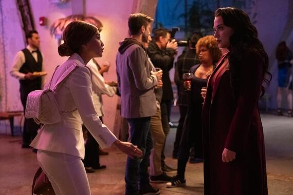 "Dollface -- ""Mystery Brunette"" - Episode 103 -- Jules struggles to understand the rules of keeping secrets among friends, which causes a problem for Madison at work. Stella tries to teach Izzy to be more mysterious. Madison (Brenda Song) and Jules (Kat Dennings), shown. (Photo by: Ali Goldstein/Hulu)"