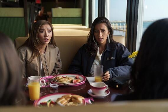 "Dollface -- ""Fun Friend"" - Episode 104 -- The girls wrestle with their personal ""brands"" as Jules and Stella take on being the ""boring one"" and the ""fun one"". Madison, the ""bossy one,"" helps Izzy ""the crazy one,"" shed her fake identity. Madison (Brenda Song) and Stella (Shay Mitchell), shown. (Photo by: Aaron Epstein/Hulu)"