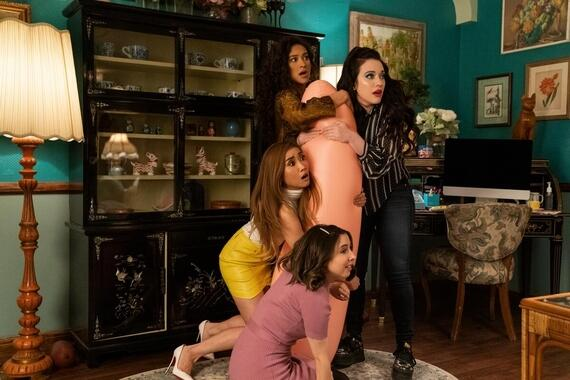 "Dollface -- ""Beauty Queen"" - Episode 105 -- Jules struggles to understand the rules of keeping secrets among friends, which causes a problem for Madison at work. Stella tries to teach Izzy to be more mysterious. Madison (Brenda Song), Stella (Shay Mitchell), Izzy (Esther Povitsky), and Jules (Kat Dennings), shown. (Photo by: Ali Goldstein/Hulu)"