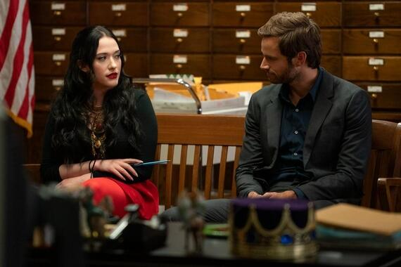 "Dollface -- ""History Buff"" - Episode 106 -- The Big One is coming. The girls fear a potential major earthquake hitting Los Angeles, while Jules fears a different ""Big One"": running into your EX with a new girl. Stella rebels against Madison's need to control her friends' lives during an outing to SantaCon. Jules (Kat Dennings) and Jeremy (Connor Hines), shown. (Photo by: Ali Goldstein/Hulu)"