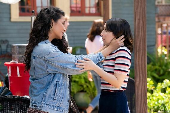 "Dollface -- ""F*** Buddy"" - Episode 107 -- The girls navigate sex and dating in an age when monogamy shaming is the new slut shaming. Jules gets a rebound, Stella elicits Izzy's help in breaking up with a guy, and Madison yearns to define her relationship with Colin. Stella (Shay Mitchell) and Izzy (Esther Povitsky), shown. (Photo by: Ali Goldstein/Hulu)"