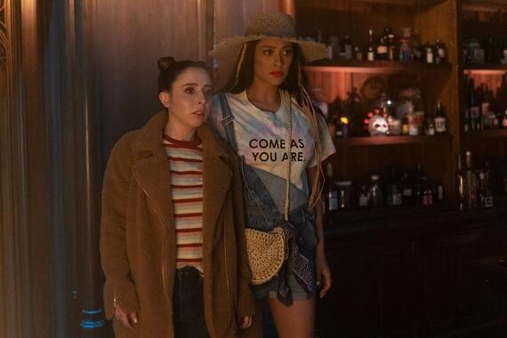 "Dollface -- ""Feminist"" - Episode 109 -- Jules and the girls explore what it means to be a feminist while attending the Women's March in an homage to a classic story. Izzy (Esther Povitsky) and Stella (Shay Mitchell), shown. (Photo by: Ali Goldstein/Hulu)"
