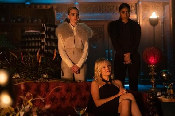 "Dollface -- ""Feminist"" - Episode 109 -- Jules and the girls explore what it means to be a feminist while attending the Women's March in an homage to a classic story. Alison B. (Brianne Howey), Celeste (Malin Akerman), and Alison S. (Vella Lovell), shown. (Photo by: Ali Goldstein/Hulu)"