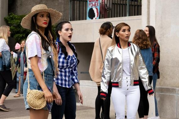 "Dollface -- ""Feminist"" - Episode 109 -- Jules and the girls explore what it means to be a feminist while attending the Women's March in an homage to a classic story. Stella (Shay Mitchell), Jules (Kat Dennings), and Madison (Brenda Song), shown. (Photo by: Erin Simkin/Hulu)"