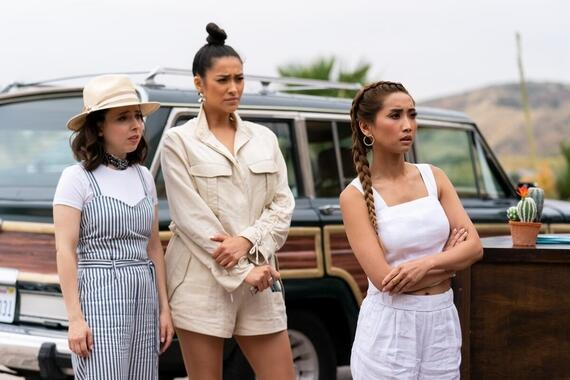 "Dollface -- ""Bridesmaid"" - Episode 110 -- On the heels of Madison and Jules's blow up, all four girls end up in Mexico for a wedding weekend gone wrong: secrets are revealed, hallucinogenic drugs are taken, and Jules' commitment to her girlfriends faces the ultimate test. Izzy (Esther Povitsky), Stella (Shay Mitchell), and Madison (Brenda Song), shown. (Photo by: Aaron Epstein/Hulu)"