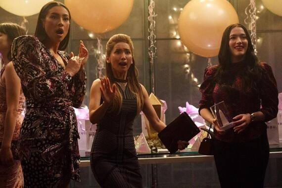 "Dollface -- ""Guys' Girl"" - Episode 101 -- Jules Wiley has been totally absorbed by her relationship for the last five years. When her boyfriend dumps her unexpectedly, Jules has to come to terms with the fact that she's let her female friendships fall apart, and plan a girls night out in an attempt to win them back. Stella (Shay Mitchell), Madison (Brenda Song), and Jules (Kat Dennings), shown. (Photo by: Aaron Epstein/Hulu)"
