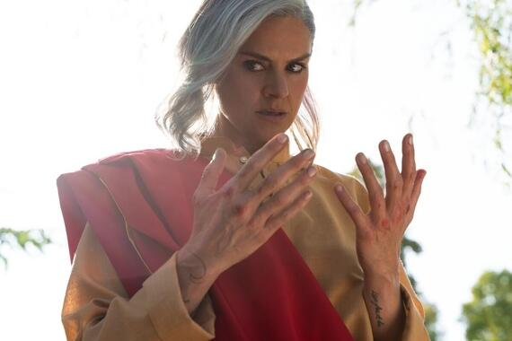 "Future Man -- ""Time Rogues III: Escape From Forever"" - Episode 307 -- Josh and Wolf reunite and make a desperate move to escape while Tiger reconciles her past and present selves. Tiger (Eliza Coupe), shown. (Photo by: Jonathan Wenk/Hulu)"