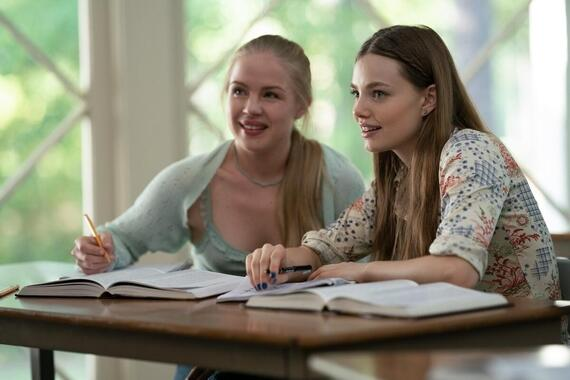 "Looking For Alaska -- ""They Couldn't Hit An Elephant From This Dist…"" - Episode 103 -- Alaska sets Miles up on a triple and a half date that does not go as planned, while a fragile truce with the Weekday Warriors proves short lived. Lara (Sofia Vassilieva) and Alaska (Kristine Froseth), shown. (Photo by: Alfonso Bresciani/Hulu)"