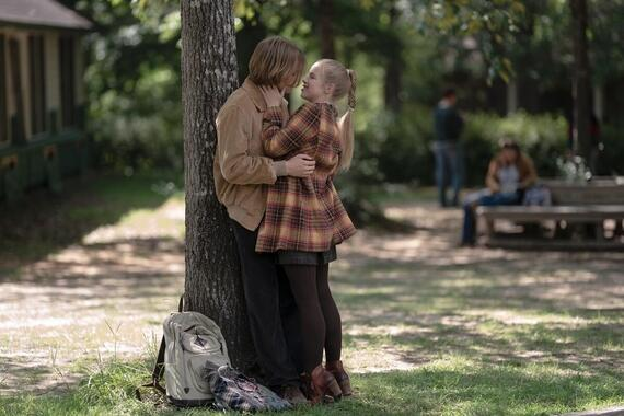 "Looking For Alaska -- ""We Are All Going"" - Episode 106 -- The Colonel faces the consequences of his actions and Miles and Alaska find themselves closer than ever. Miles (Charlie Plummer) and Lara (Sofia Vassilieva), shown. (Photo by: Alfonso Bresciani/Hulu)"