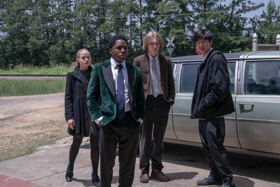 "Looking For Alaska -- ""Now Comes the Mystery"" - Episode 107 -- Culver Creek grapples with a devastating tragedy. A potential clue only leads to more questions. Lara (Sofia Vassilieva), The Colonel (Denny Love), Miles (Charlie Plummer), and Takumi (Jay Lee), shown. (Photo by: Alfonso Bresciani/Hulu)"