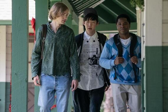 "Looking For Alaska -- ""It's Very Beautiful Over There"" - Episode 108 -- The search for answers pulls our group apart, until one final prank brings them back together. Miles (Charlie Plummer), Takumi (Jay Lee), and The Colonel (Denny Love), shown. (Photo by: Alfonso Bresciani/Hulu)"