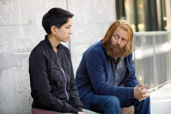 "DEVS ""Episode 2"" Airs Thursday, March 8 -- Pictured: (l-r) Sonoya Mizuno as Lily, Nick Offerman as Forest. CR: Raymond Liu/FX"