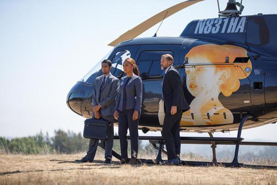 "DEVS ""Episode 3"" (Airs Thursday, March 12) -- Pictured: (center, l-r) Janet Mock as Senator Laine, Mark Ciarrocchi as Senator's bodyguard. CR: Raymond Liu/FX"