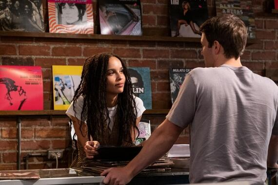 "High Fidelity -- ""Weird…But Warm"" - Episode 106 -- When Liam returns from tour, Rob is caught between the fantasy of a night spent backstage as his date and the reality of what Clyde is offering – be it friendship or something more. Simon develops a crush. Cherise is inspired to pitch herself to Liam's manager. Robyn (Zoë Kravitz) and Clyde (Jake Lacy), shown. (Photo by: Phillip Caruso/Hulu)"