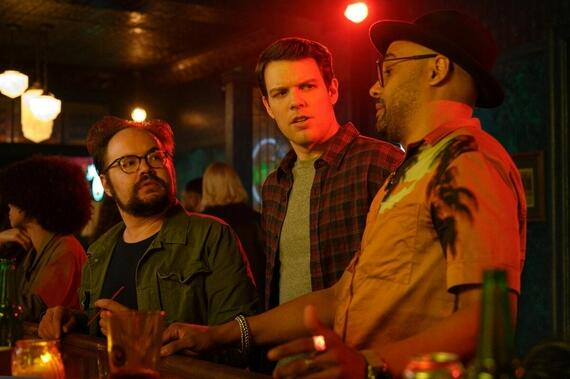 "High Fidelity -- ""Me Time"" - Episode 107 -- Cameron decides to throw a ""Last Hurrah"" party before the baby arrives. Rob goes to and is shocked to find Mac and his fiancée, Lily. To get through the awkwardness she calls Clyde for back up, but things get complicated when true feelings inevitably bubble up... The Hammer (Brian Silliman), Clyde (Jake Lacy), and Cameron (Rainbow Sun Francks), shown. (Photo by: Phillip Caruso/Hulu)"