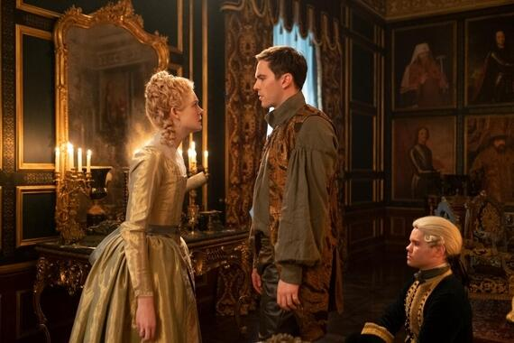 The Great -- Episode 105 - The Great is a genre bending, anti-historical ride through 18th Century Russia following the wildly comic rise of Catherine the Nothing to Catherine the Great. Catherine (Elle Fanning) and Peter (Nicholas Hoult), shown. (Photo by: Ollie Upton /Hulu)